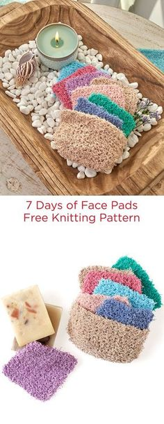 7 Days of Face Pads Free Knitting Pattern in Red Heart Scrubby Cotton yarn -- Seven small knit squares all fit into a handy container and are ready to use for washing your face. The 100% cotton is a nice texture to stimulate and clean your complexion.