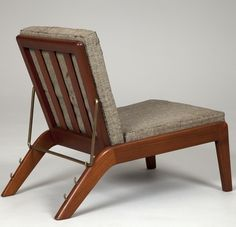 Børge Christian Christoffersen; Teak and Brass Reclining Lounge Chair, 1940s.