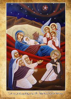 Nativity (coptic) Christian Images, Christian Art, Religious Icons, Religious Art, Paint Icon, Jesus Art, Biblical Art, Byzantine Icons, Christmas Nativity