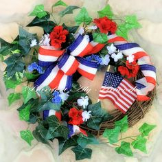Large~Handmade~Summer~Fourth of July~WREATH~Red, White & Blue~Stripes~Floral~Patriotic~Burlap~Bow~Ivy~Garden~Father's Day~Gift~Decoration by BarefootAlyArtworks on Etsy