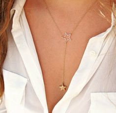 Barato Moda placa de ouro cadeias curtas Star pingentes colares ouro bonito…