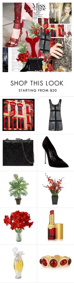 """Sequins"" by amethystes ❤ liked on Polyvore featuring Rachel Gilbert, Mimco, Casadei, ASOS, PLANT, Estée Lauder, Nina, Kenneth Jay Lane, Olivia Collings Antique Jewelry and women's clothing"