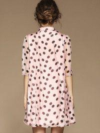 Dot Printed Silk Mini Dress
