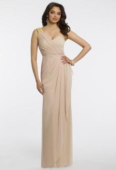 One Shoulder Jersey Dress wth Rhinestone Brooch from Camille La Vie and Group USA #longdress #nude #omeshoulder #camillelavie #fashion