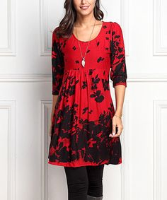 This Red & Black Floral Empire-Waist Tunic Dress by Reborn Collection is perfect! #zulilyfinds