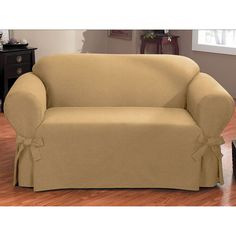 Bruce One-piece Relaxed Fit Loveseat Slipcover with Ties (Biscuit), Beige (Solid)