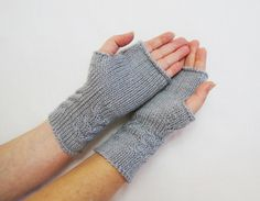light gray fingerless gloves, gray mittens, Arm Mittens, fingerless mittens, arm warmers, wrist warmers, wool cable knit, hand warmers by HandMadeLana on Etsy