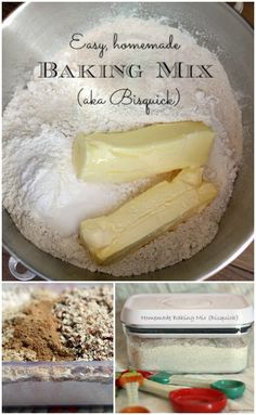 Easy Homemade Bisquick (Baking Mix) It's so easy to whip up this Homemade Bisquick Baking Mix in bulk. Then I have hot, easy breakfasts ready all week long. SO many options. Bisquick Recipes, Baking Recipes, Easy Recipes, Baking Tips, Muffins, Chutney, Cuisines Diy, Recipe Mix, Bulk Recipe