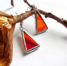 Red Streaky Stained Glass Earrings by AfricanSand on Etsy