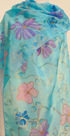 Long blue silk wrap hand painted Floral sky blue silk scarf
