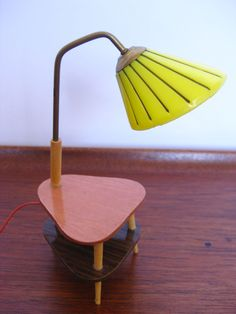 Mid Century Modern Kahlert Dollhouse Side Table with Lamp 1960s West Germany.