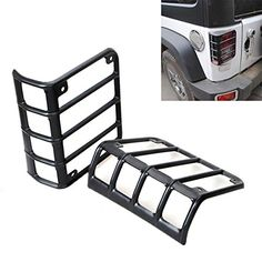 BETOOLL Black Rear Euro Tail Light Guard Cover Protector for 2007-2016 Jeep Wrangler - Pair. For product info go to:  https://www.caraccessoriesonlinemarket.com/betooll-black-rear-euro-tail-light-guard-cover-protector-for-2007-2016-jeep-wrangler-pair/