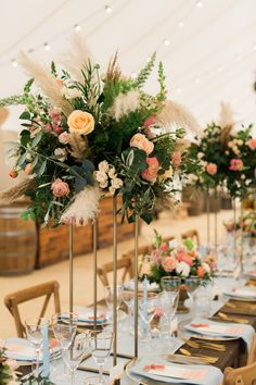 PapaKåta Spring Open Weekend 2019 Showcasing Sperry Tents and Giant Teepees Coral, Foliage & Pampas Coral Centerpieces, Grass Centerpiece, Coral Wedding Decorations, Coral Wedding Flowers, Coral Roses, Wedding Centerpieces, Floral Wedding, September Flowers In Season, Wedding Set Up