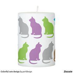 Colorful cats design pillar candle
