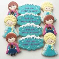 Frozen By Vanilla Cookies Fancy Cookies, Royal Icing Cookies, Cake Cookies, Sugar Cookies, Cupcake Cakes, Frozen Cupcakes, Frozen Cookies, Sweet Cupcakes, Frozen Birthday Party