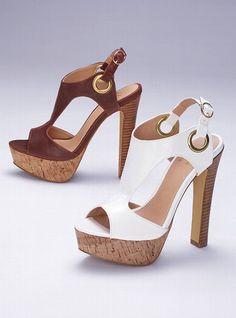 """Colin Stuart Grommet T-Strap Sandal: Imported polyurethane. 5 1/2"""" heel with 1 1/4"""" platform.    $68"""