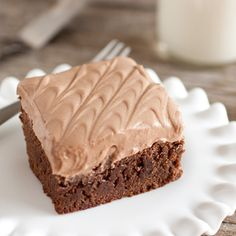 Old Fashioned Brownies with Chocolate Cream Cheese Frosting – the chewiest brownie you'll ever eat. An exact copycat of my local bakery.