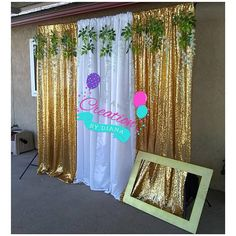 Backdrop Stand in Gold Sequin & White with Artificial Garland and Backdrop Stand ,Sparkly Backdrop,Backdrop Curtain, Photo booth Backdrop Gold Backdrop, Backdrop Design, Photo Booth Backdrop, Backdrop Stand, Church Wedding Decorations, Backdrop Decorations, Artificial Garland, Baptism Centerpieces, Purple Curtains