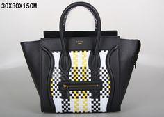 SAC CELINE LUGGAGE MINI TISSAGE BLANC / NOIR / JAUNE 1.Marque  : celine 2.Style  : celine Luggage Mini 3.couleurs :  blanc / noir / jaune 4.Matériel : Importer en cuir d'origine 5.Taille: W30 x H15 x D30 cm Celine Luggage, Luggage Bags, Tote Handbags, Mini, Clutches, Totes, Style, Celine Bag, Weaving
