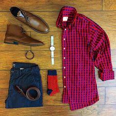 Stylish Grid by @chrismehan   Follow  @stylishgridgame    Brands ⤵ Shirt: @pacificissue Trousers: @jcrew Shoes: @thursdayboots Socks: @kirikomade Watch: @brathwaitwatches Belt: @missionbeltco Bracelet: @grandfrank_official