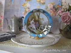 Blue Sevres Lovers Dollhouse Plate by alavenderdilly on Etsy, $4.25