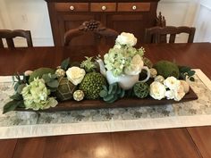 Dough Bowl Summer Decoration for Dining Room Table - used hydrangea and ranunculus flowers, assorted deco balls, eucalyptus, and a teapot.  Flowers gotten at Michael's and couple of  boxes of summer deco balls from Hobby Lobby