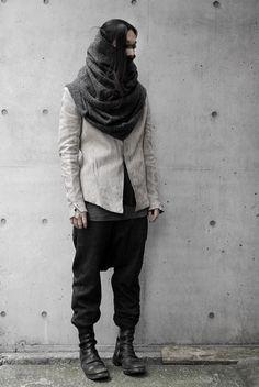 Layers. Avant garde fashion. White to gray to black.