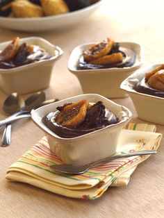 Have you ever made chocolate pudding from scratch? It's easy. Infusing figs in amaretto adds nutty almond flavor that is just right on homemade pudding. #chocolatepudding #valleyfig Easy Chocolate Pudding, Chocolate Pots, Best Chocolate, Chocolate Recipes, Fig Dessert, Dessert Dishes, Dessert Recipes, Fig Pudding, Pudding Recipes