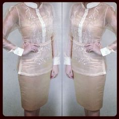 Justine Navato @justinenavato | Websta Modern Filipiniana Gown, Filipiniana Wedding, Wedding Dress, Barong Tagalog For Women, Philippines Fashion, Beige Dresses, Dressed To The Nines, Grad Dresses, Fashion 101