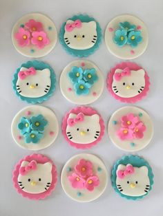 Set of 12 Hello Kitty Cupcake Toppers by SugaryLand on Etsy