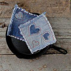 Blue Hearts - Denim Potholders - The Best Potholders Ever