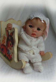 OOAK Polymer Clay Original Sculpted Baby Bunny Girl Mini Doll Trice | eBay
