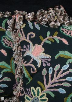 Items similar to Pair of crewel embroidered pillows, rich Jacobean, Arts & Crafts style gardens big multicolor flowers, striped velvet braided tassels, black on Etsy Aari Embroidery, Jacobean, Colorful Garden, Antique Items, Textile Art, Embroidered Pillows, Braids, Arts And Crafts, Anita Dongre