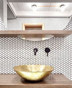 Contemporary bathroom with white penny tiles design by Formafatal