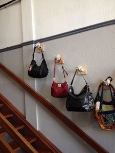 one of our customers bought mannequin hands from us to create this in store display of handbags.