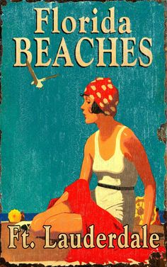 vintage florida decore | Florida Beaches - Vintage Beach Sign: Beach Decor, Coastal Home Decor ...