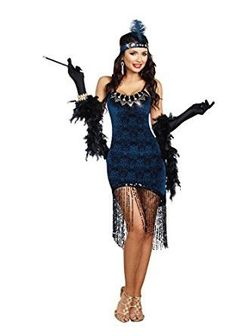Description #10210 - Dry Clean Only - Textured velvet dress with chest medallion detail - Fringe sequin drops at bottom of dress - Sequin headpiece with attached feather Sizes: Small, Medium, Large