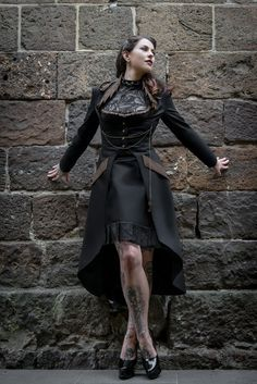 Steampunk Hooded Jacket - Steam Punk Gothic Victorian Burning Man Black Cotton Coat - MADE TO ORDER $295.00