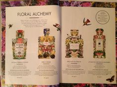 Tear from High Life magazine, cleverly visualising the different layers of fragrance in well-known perfumes