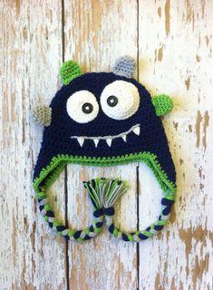 Monster crochet hat blue 05T by GBabyCrochet on Etsy, $25.00