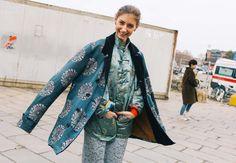 Jenny Walton in a Comme des Garçons coat and Pearl River Mart jacket