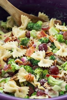 Yummmy. Bacon on a Lighter Broccoli, Grape, and Pasta Salad salty / sweet and beats the heat :-)