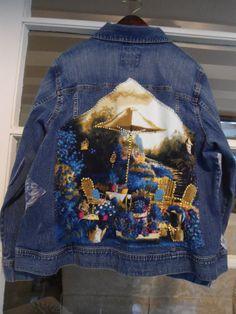 Plus Size Upcycled Blue Jean Jacket Redesigned Repurposed Coats 60's 70's 80's Style Jean Coat Clothing by LandofBridget