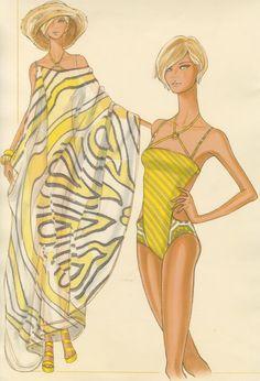 Design & Illustration by Mona Jung for Trina Turk   Otis Fashion