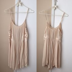 Blush romper Flowy blush romper with side crochet detail (very good material, not see-through) Blush Dresses