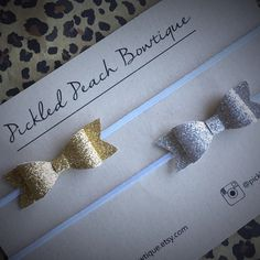 Mini Glitter Bow Set Silver Glitter Bow by pickledpeachbowtique