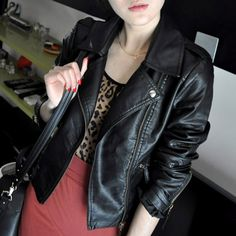 Stylish Women Motorcycle Artificial Leather Coat Jacket S-XXL Diagonal Zipper Short Outerwear
