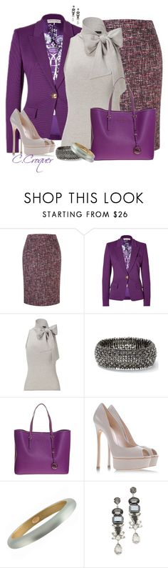 """""""Tweed Skirt"""" by ccroquer ❤ liked on Polyvore featuring CC, Emilio Pucci, Ralph Lauren, MICHAEL Michael Kors, Casadei, Alexis Bittar and Noir Jewelry"""