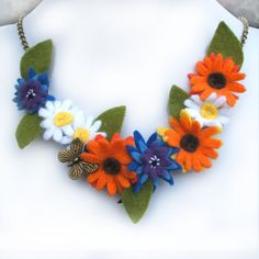 Flower Garland Bib Necklace Marigold Cornflower by CraftyJoDesigns