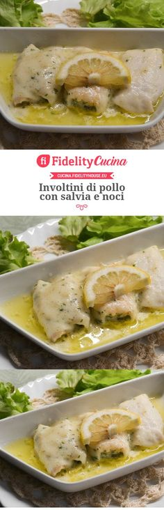 Involtini di pollo con salvia e noci Meat Recipes, Chicken Recipes, Dinner Recipes, Cooking Recipes, Healthy Recipes, Pollo Chicken, Good Food, Yummy Food, Finger Food Appetizers